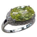HUGE 6 CT PERIDOT 925 STERLING SILVER RING SIZE 5-10