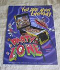 1991 BALLY MIDWAY PARTY ZONE PINBALL FLYER