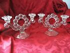 Vintage Boopie Bubble Glass pair of Candleholders candleabra double