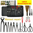 Bonsai Tool Set Carbon Steel Extensive 14Pcs Kit Cutter Scissors W Nylon Case