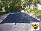 Rectangle BLUE MESH Safety Pool Cover w Wood Deck Anchors 12 Year Warranty