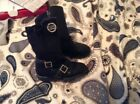 MICHAEL KORS Tall Girls Kids Size 9 Black Side Zip Stretch Leather Boot