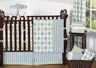 Modern Argyle Blue Green Boutique Baby Boy 9pc Crib Bedding Set for Newborn Jojo
