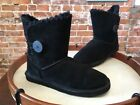 Lamo Black Suede Button Whipstitched Faux Fur Ankle Boots NEW