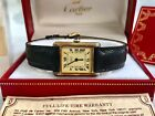 Vintage 80s LADYS CARTIER Tank Watch VERMEIL 925 STERLING SILVER w BOX Paperwork