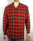vtg 90s euc Tommy Hilfiger Jeans Full Zip Red Flannel Shirt Jacket hip hop L