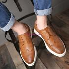 Fashion Mens Oxfords Carved Wing Tip Lace Up Dress Formal Sneakers Casual Boots