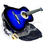 38 inches BLUE Acoustic Starter Package Gig Bag Extra String Cheap Medium Guitar