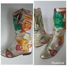 Carlo Fiori Vintage 70 80s Bohemian Painted Snakeskin Cowboy Boots Womens 7 38