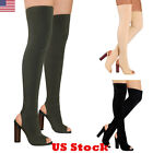 US Womens Ladies Over The Knee Long Boots Thigh High Heels Block Open Toe Shoes