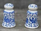 VINTAGE PHEONIX BLUE WHITE SALT PEPPER SHAKER SET JAPAN