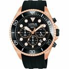Lorus Gents Rose Gold Tone Chronograph Watch with Black Strap RT322FGX9