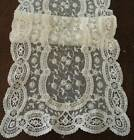 Vintage Embroidered French Net Lace Table Runner Schiffli Edge Ecru 45