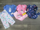 6 piece LOT of baby girl fall winter pajamas size 24 months 2T NWT