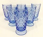 6 Vtg Indiana LIGHT BLUE Glass Whitehall Colony Cube 6