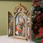 Nativity Scene Tryptych 1275 inch Tall Ornate Cabinet Doors Angel Wall Plaque