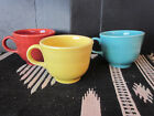 3- Homer Laughlin Ringed Fiesta Coffee Tea Cups PAPRIKA YELLOW BLUE Color Marked