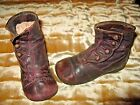 Antique Leather Button Up High Top Edwardian Era Childrens Shoes  Large Doll