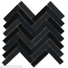 Black Crystal Glass Mosaic Tile Metallic Matte Herringbone Kitchen Backsplash
