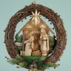 Nativity Door Wreath Rustic Grapevine Berry 14 inch Sheep Carved Wood Look