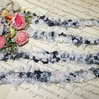 1y VTG FRENCH CHENILLE RIBBON TRIM GRAY FRINGE DOLL DRESS ROCOCO JACQUARD FUR