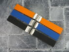 NEW 22mm Soft Rubber Strap Diver Deployment Watch Band Black Blue Orange IWC X1