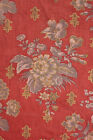 Antique French curtain drape w/ trim Napoleon 111 red gray grey floral timeworn