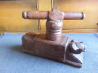 Large Primitive 1800's era Antique Hand Carved Wooden Goat Cheese Press