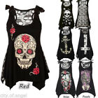 US Gothic Women Lace Skull Sleeveless Tank Top Cami Blouse Punk Rock Shirt PLUS