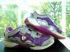 STRIDE RITE DISNEY Girls Lavender SEQUINS SNEAKERS Velcro ATHLETIC SHOES 135
