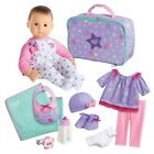 American Girl Bitty Baby Doll Light Skin Dark Brown Hair Brown Eyes 12 piece Set