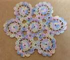 Vintage Hand Crocheted Round Doily Cotton Variegated Yellow Blue Pink Multi