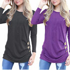 Womens Long Sleeve Loose Button Decor Trim Blouse Round Neck Tunic T Shirt Top