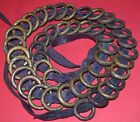 Antique Yoruba Braided Leather Money Belt W/ Brass Metal CURRENCY Rings, Africa