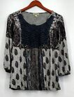 One World Top Sz M Bishop Sleeve Border Print Crochet Peasant Top Blue