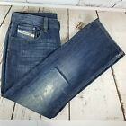 DIESEL Mens Levan 36 x 34 Straight Leg Jeans Button Fly Made in Italy Distressed