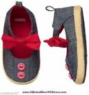 Gymboree NWT Chambray Blue RED BUTTON BOW MARYJANE DRESS CRIB SHOES US 1