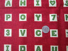 School House Letter  Number Tiles on Red Cotton Fabric