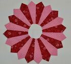 HEARTS ON PINK  RED DRESDEN CIRCLES