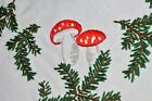 LUCKY BLESSED CHRISTMAS OF MUSHROOMS  PINECONES VTG GERMAN HAND EMB TABLECLOTH