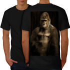 Wellcoda Gorilla Strong Body Mens T-shirt, Monkey Graphic Design on the Back