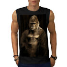 Wellcoda Gorilla Strong Body Mens Sleevless T-shirt, Monkey Athletic Top