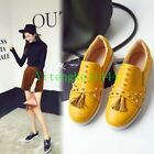 Women Cow Leather Fashion Sneakers Spike Studded Black Yellow Flats Oxfords New