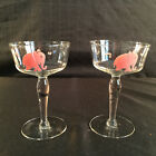 RARE FEDERAL Glass Pink Elephant Champagne Glasses Dancing Tipsy Bar Mid Century