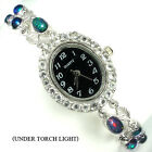 Sterling Silver 925 Genuine Natural Black Opal & White Topaz Watch 7.5 Inch