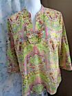 Talbots green pink paisley floral 3 4 sleeve tunic top size S