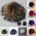 5inch Large Faux Raccoon Fur Pom Pom Ball with Press Button for Knitting Hat /LE