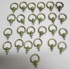 Vintage Lot of 25 Brass Picture Hanging Loop Hanger Screw Ring Plaque Wall Hook