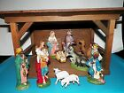 12 Pc Set Vintage Italy Paper Mache Wood Nativity Scene W Stable WOOLWORTH