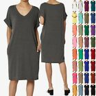 TheMogan S~3X Rolled Short Sleeve Side Pocket V-Neck Jersey Midi T-Shirt Dress